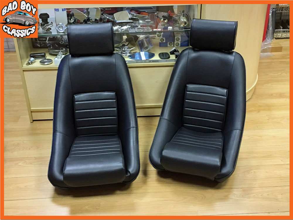 Vintage Auto Seats : Universal black leather bucket seats for classic cars